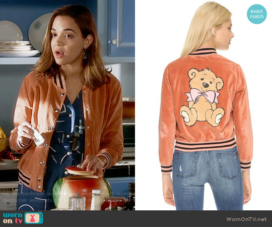 Wildfox Teddy Baseball Jacket worn by Cassandra (Georgie Flores) on Famous in Love