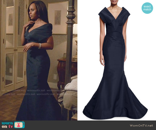 Zac Posen Silk V-Neck Mermaid Gown worn by Olivia Pope (Kerry Washington) on Scandal