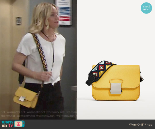 Zara Crossbody Bag with Multicolored Strap worn by Sharon Case on The Young & the Restless