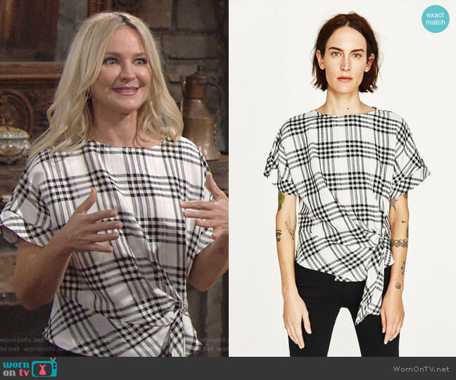 Zara Checked Top with Front Knot worn by Sharon Collins (Sharon Case) on The Young & the Restless