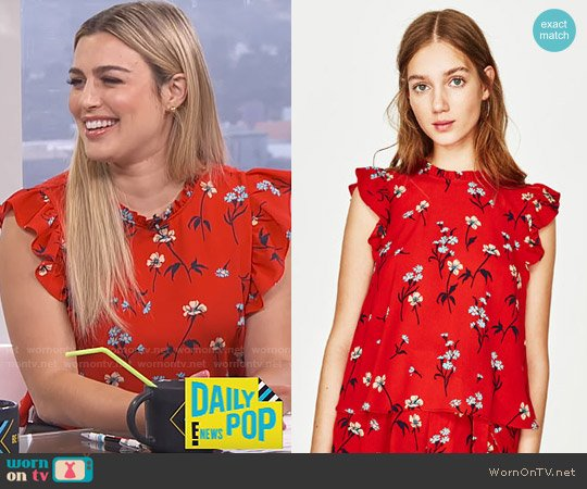 Zara Floral Print Top worn by Carissa Loethen Culiner  on E! News