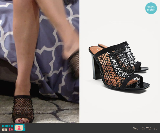Zara High Heel Mesh Sandals worn by Phyllis Newman on The Young & the Restless