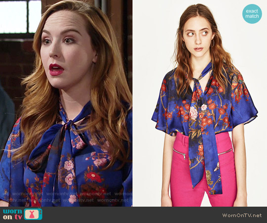 Zara Oriental Print Bodysuit worn by Camryn Grimes on The Young & the Restless