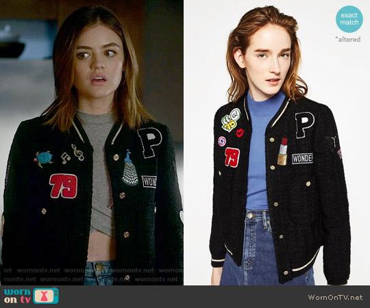 Zara Customized Patch Jacket worn by Aria Montgomery on PLL