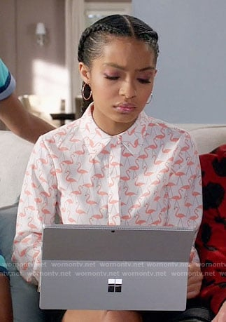 Zoey's flamingo print shirt on Black-ish