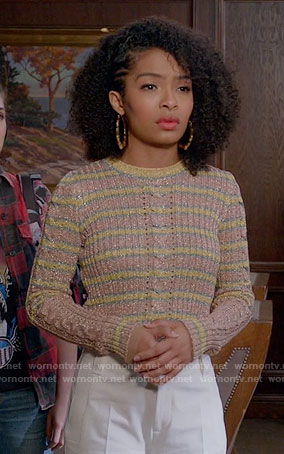 Zoey's metallic striped sweater on Black-ish