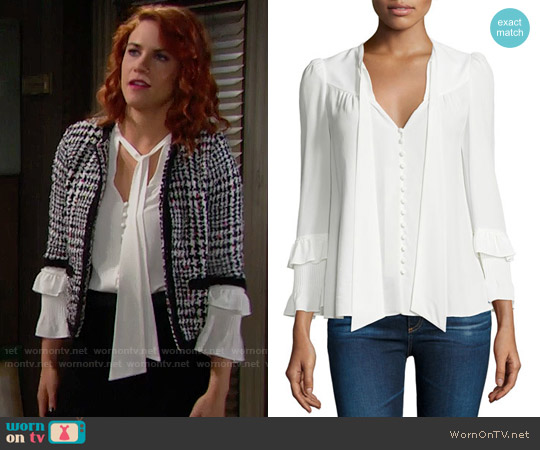 10 Crosby Derek Lam Long-Sleeve Tie-Neck Blouse worn by Sally Spectra (Courtney Hope) on The Bold & the Beautiful