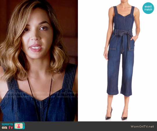 7 For All Mankind Saint Tropez Belted Jumpsuit worn by Cassandra (Georgie Flores) on Famous in Love