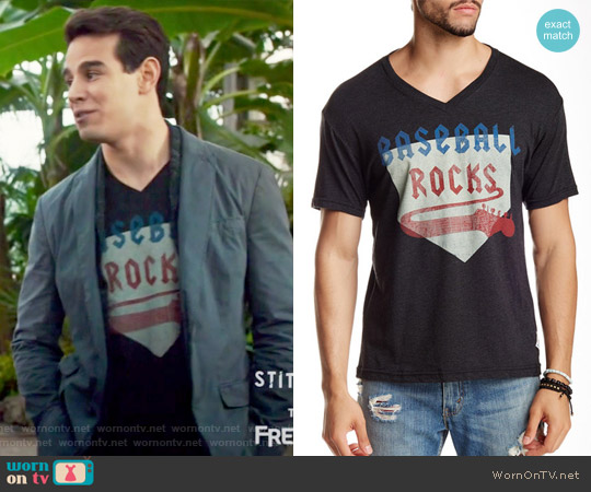 'Baseball Rocks' Graphic V-Neck T-Shirt by 7th Inning Stretch worn by Alberto Rosende on Shadowhunters