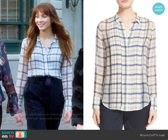 ATM Anthony Thomas Melillo Plaid Silk Shirt worn by Troian Bellisario on PLL