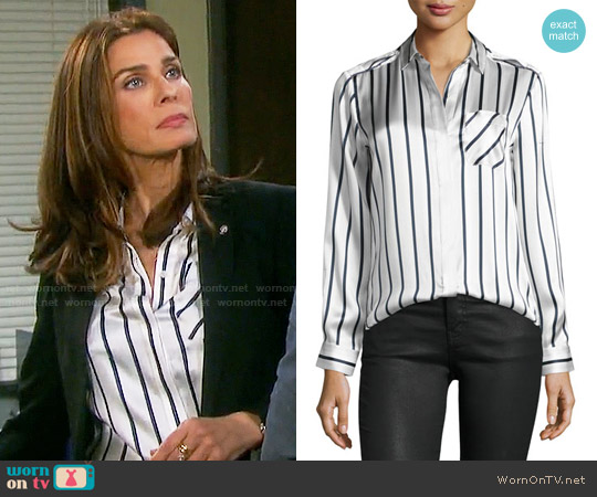 ATM Anthony Thomas Melillo Stripe Silk Shirt worn by Kristian Alfonso on Days of our Lives