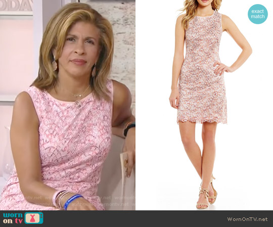 Nautilus Round Neck Sleeveless Shift Dress by Adrianna Papell worn by Hoda Kotb on Today