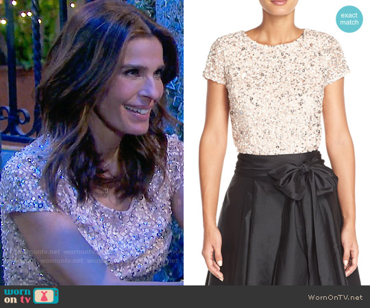 Adrianna Papell Sequin Mesh Top worn by Kristian Alfonso on Days of our Lives