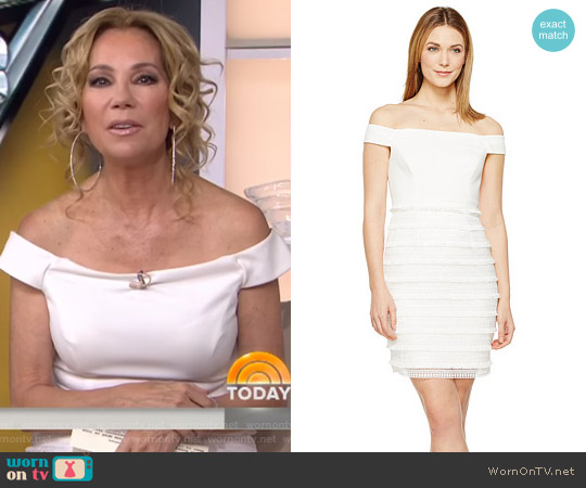 Off the Shoulder Fringe Lace by Aidan Mattox worn by Kathie Lee Gifford on Today