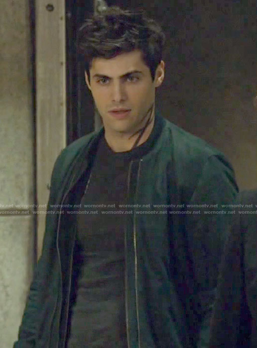Alec's navy double zip bomber jacket on Shadowhunters
