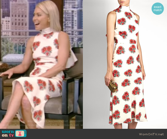 Poppy Print Ruffled-Back High-Neck Dress by Alexander McQueen worn by Kelly Ripa (Kelly Ripa) on Live with Kelly & Ryan