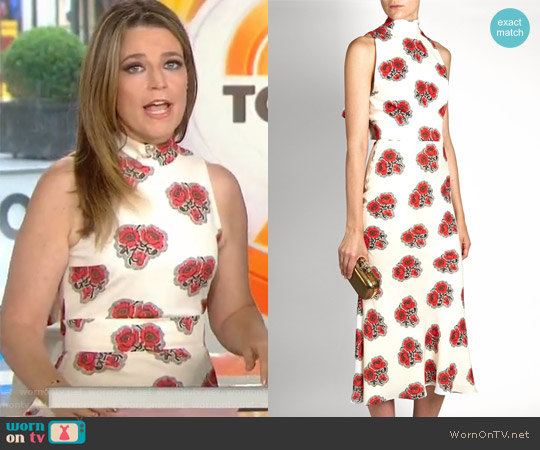 Poppy Print Ruffled-Back High-Neck Dress by Alexander McQueen worn by Savannah Guthrie  on Today