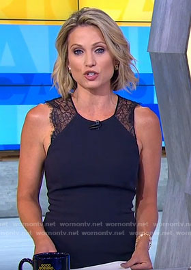 Amy's black lace detail sleeveless dress on Good Morning America
