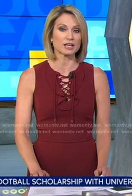 Amy's red lace-up jumpsuit on Good Morning America