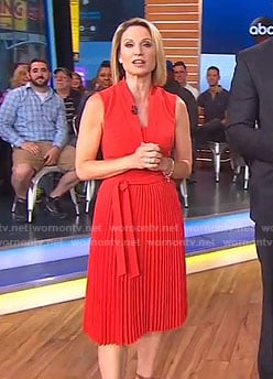 Amy's red pleated dress on Good Morning America