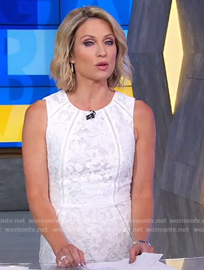 Amy's white lace sheath dress on Good Morning America