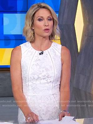 Amy's white lace sheath dress on Good Morning America