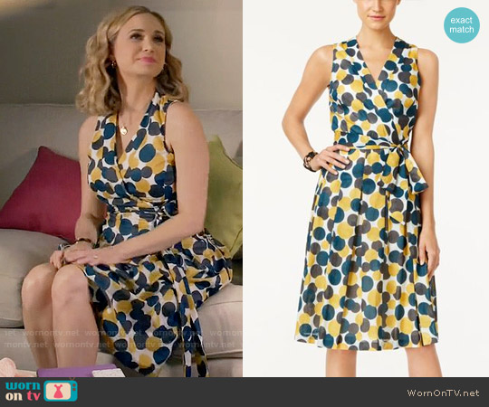 Anne Klein Dot-Print Faux-Wrap Dress worn by Fiona Gubelmann on Daytime Divas