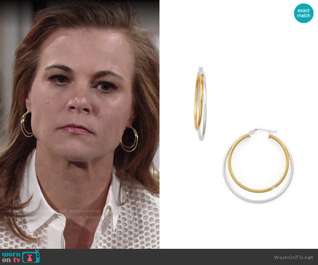 Aqua Double Hoop Earrings worn by Phyllis Newman (Gina Tognoni) on The Young & the Restless