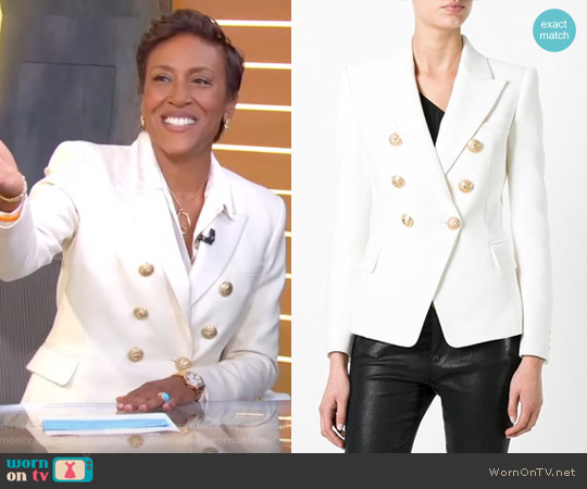 Double Breasted Blazer by Balmain worn by Robin Roberts on Good Morning America