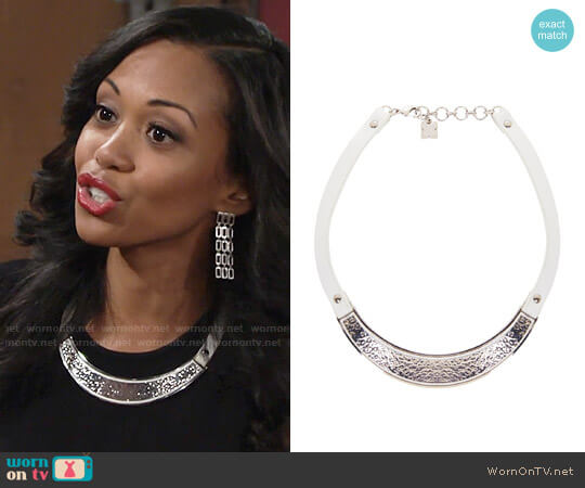 Bcbgmaxazria Hammered Metal Plate Necklace worn by Mishael Morgan on The Young & the Restless