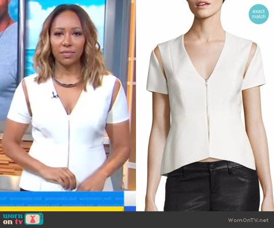 Zip V-Neck Cold Shoulder Top by Bcbgmaxazria worn by Mara Schiavocampo on Good Morning America worn by Mara Schiavocampo (Mara Schiavocampo) on Good Morning America