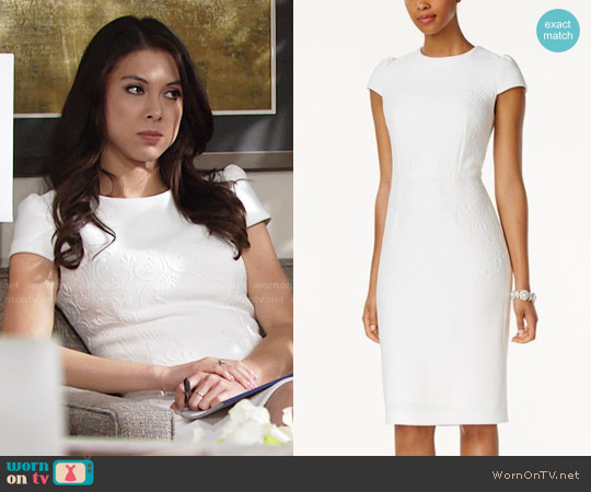 Betsey Johnson Embossed Midi Sheath Dress worn by Laur Allen on The Young & the Restless