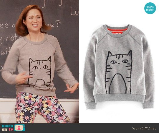 Boden 'Elle' Sequin Sweatshirt worn by Ellie Kemper on Unbreakable Kimmy Schmidt