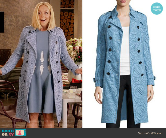 Burberry Double-Breasted English Lace Trenchcoat worn by Jacqueline Voorhees on Unbreakable Kimmy Schmidt