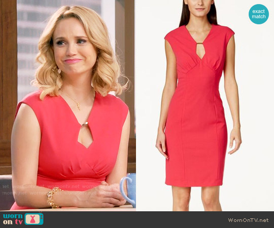 Calvin Klein Cap-Sleeve Keyhole Shift Dress worn by Fiona Gubelmann on Daytime Divas