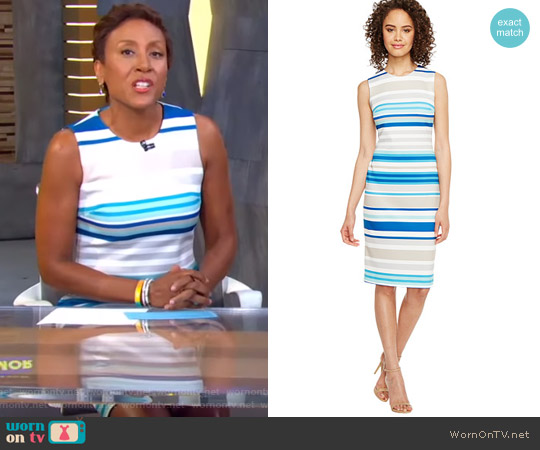 Stripe Scuba Sheath Dress by Calvin Klein worn by Robin Roberts on Good Morning America