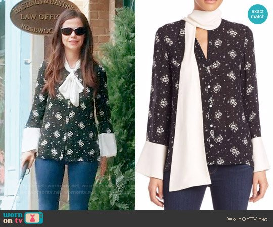 Cinq a Sept Stardust Rowan Silk Floral Top worn by Tammin Sursok on PLL