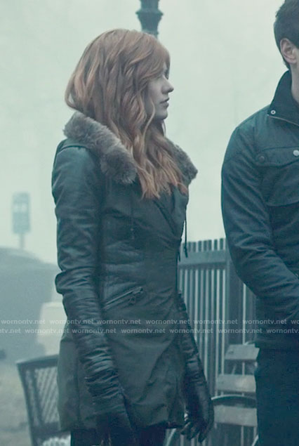 Clary's grey zip front jacket on Shadowhunters