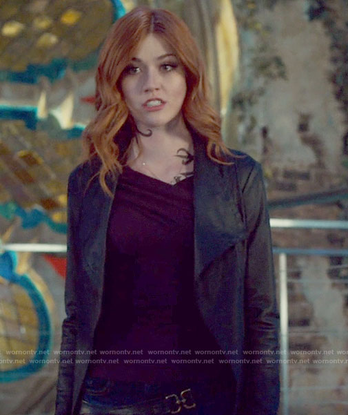 Clary's purple crossed neckline top on Shadowhunters