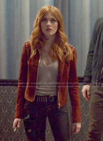Clary's split-neck top and red suede jacket on Shadowhunters