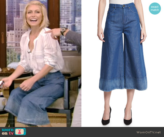 Denim Wide-Leg Cropped Pants by Co worn by Kelly Ripa on Live with Kelly & Ryan