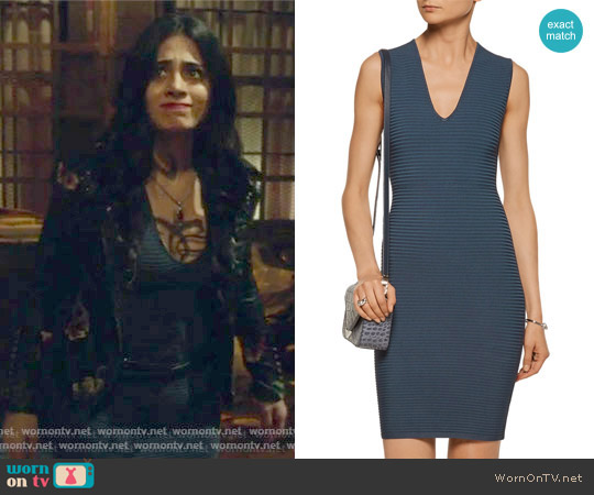 Cutout ribbed-knit mini dress by T by Alexander Wang worn by Isabelle Lightwood on Shadowhunters