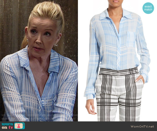 Diane von Furstenberg Carter Shirt in Darnley Hortensia Blue worn by Melody Thomas-Scott on The Young & the Restless