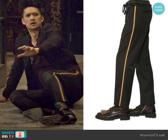'Philip' Rolled Cuff Wool Pants by Dries Van Noten worn by Magnus Bane on Shadowhunters