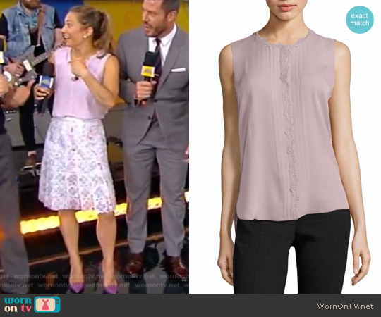 Amerie Embellished Silk Top by Elie Tahari worn by Ginger Zee on Good Morning America