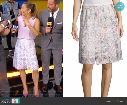 Tyler Printed Floral Lace Skirt by Elie Tahari worn by Ginger Zee on Good Morning America