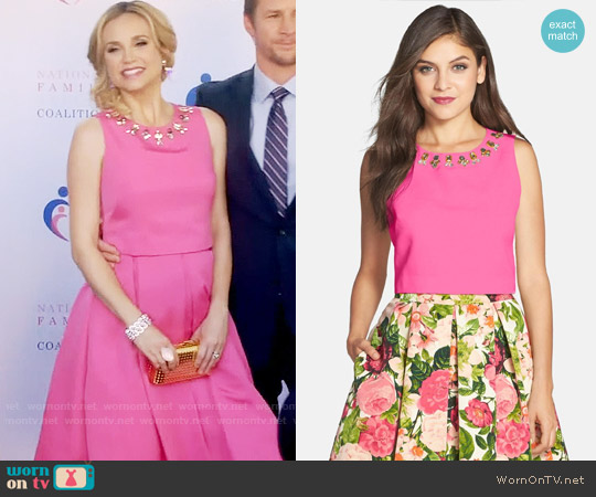Eliza J Embellished Faille Top worn by Heather Flynn-Kellogg (Fiona Gubelmann) on Daytime Divas