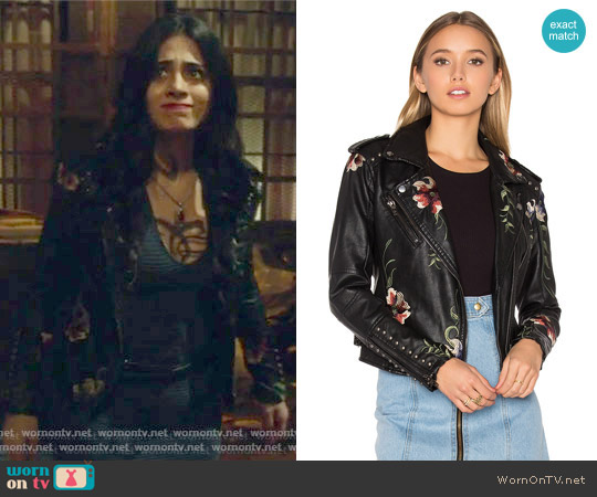 Embroidered Faux Leather Moto Jacket by BlankNYC worn by Isabelle Lightwood (Emeraude Toubia ) on Shadowhunters