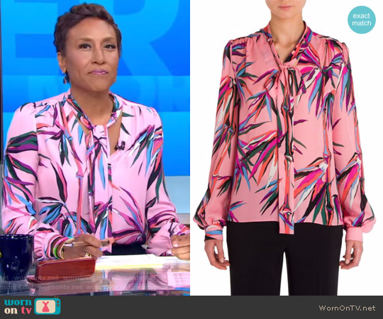 Silk Tie Neck Blouse by Emilio Pucci worn by Robin Roberts on Good Morning America