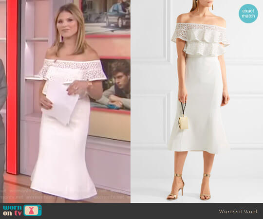 Farina Ruffled Lace and Stretch-crepe Dress by Rebecca Vallance worn by Jenna Bush Hager on Today